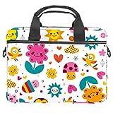 Bolsa para portátil con asa de 13,4 a 14,5 pulgadas, diseño de flores y corazones
