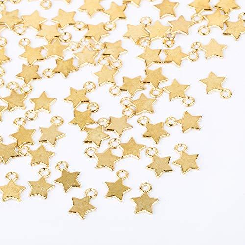 FLOFIA 100pz Ciondoli Stelline Pendenti Stella Piccoli in Lega Mini Ciondoli Stella 8mm per Orecchini Collane Bracciali Bigiotteria Creazione Gioielli Oro