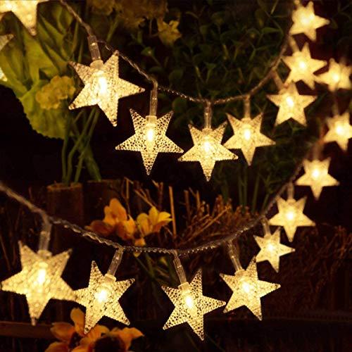 HOMVAN Star Lichterketten USB-betriebene Lichterketten, 5M 40 LED dekorative Beleuchtung für für Weihnachten Halloween Hochzeit Zimmer Dekoration Party Garten(warmes Weiß)