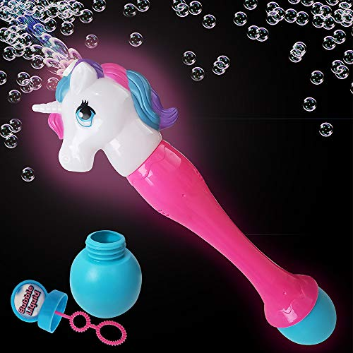 ArtCreativity 12.5 Inch Light up Unicorn Bubble Scepter Wand - Includes Solution and Batteries - Cute Bubble Blowing Toy with Colorful LEDs - Best Birthday Gift for Boys and Girls
