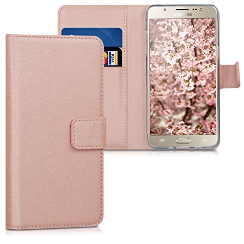 kwmobile Samsung Galaxy J5 (2016) DUOS Hülle - Kunstleder Wallet Case für Samsung Galaxy J5 (2016) DUOS mit Kartenfächern & Stand - Rosegold