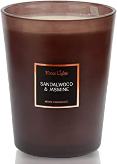 HomeLights Scented Candles | Large Jar Candle - 33.3 Oz. Natural Soy Aromatherapy Candles | 60+ Hour Burn Time with 3 Cotton Wicks, Home Decorative Fragrance Candles Gift - Sandalwood Jasmine