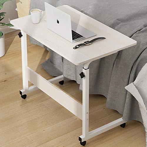Tubo De Acero Mesas Auxiliares para Salon con MDF Blanco,Altura Ajustable, Ruedas,Mesas De Comedor Extensibles para Ancianos Y Discapacitados