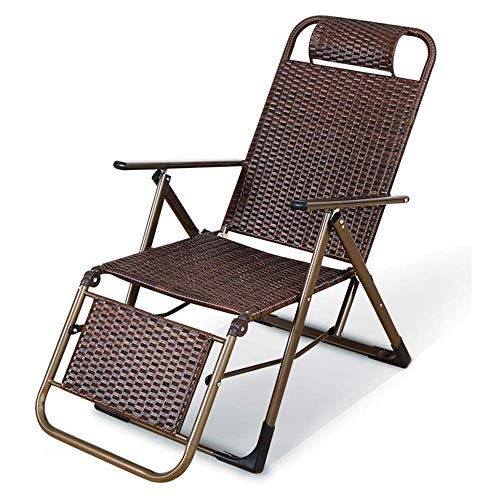 SMLZV Rattan Chair Recliner Adjustable Patio Lounge Chair Home Leisure Siesta Chair Portable and Stable Folding Lounge Chair