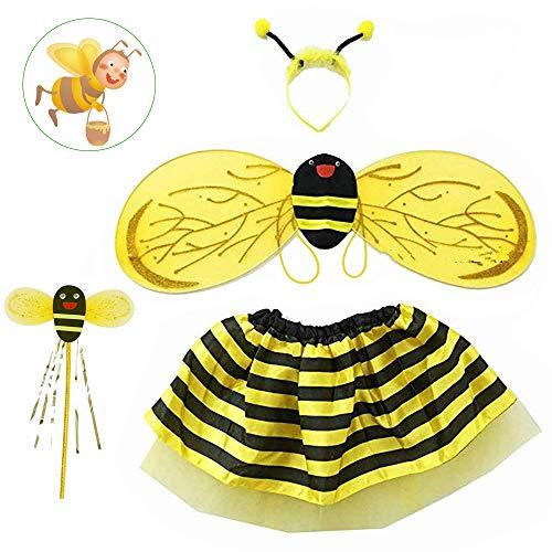 AFASOES Bienenkostüm Hummel Kostüm Mädchen Weihnachten verkleiden sich für Weihnachtsfeier Kostüm mit Flügeln, Stirnband, Zauberstab, Rock Anzug für Bühnenauftritt, Rollenspiel (2-5 Jahre)