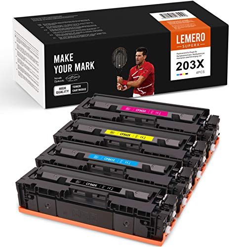 4 LEMERO SUPERX Kompatibel Toner Ersatz für 203X 203A CF540X für Color Laserjet Pro MFP-M281fdw MFP-M281fdn MFP-M280nw MFP-M281cdw, HP Color Laserjet Pro M254dw M254nw M254dn