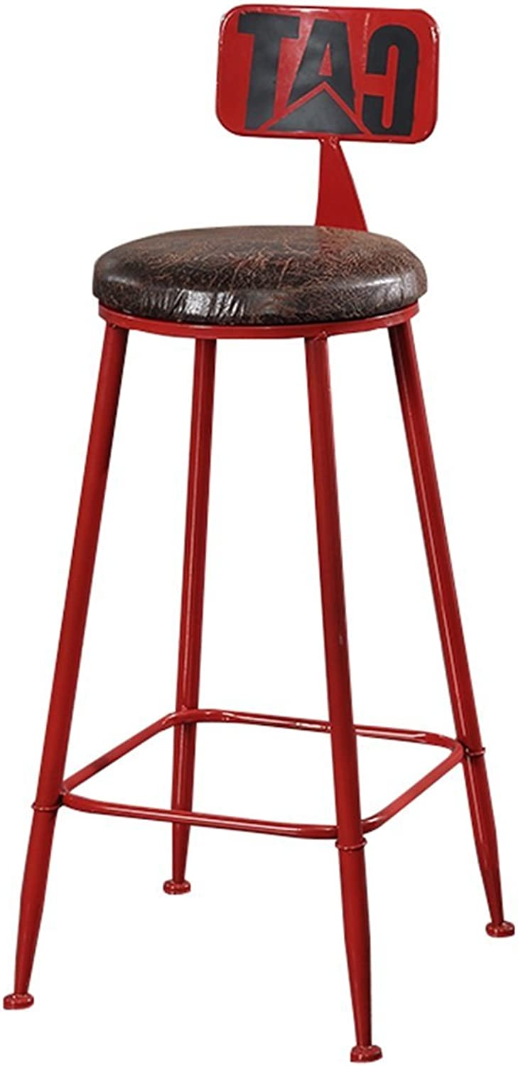 High Stool Bar Kitchens Dining Chair Breakfast Stool   Tall Chairs Bar Stool Counter Chair Leisure Seat Vintage Retro Design (color   Red-1, Size   85cm)