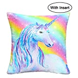 Basumee Flip Sequin Unicorn Pillow with Insert, 16x16 Inch Magic Reversible Sequins Cushion for Home Decoration, Rainbow Unicorn