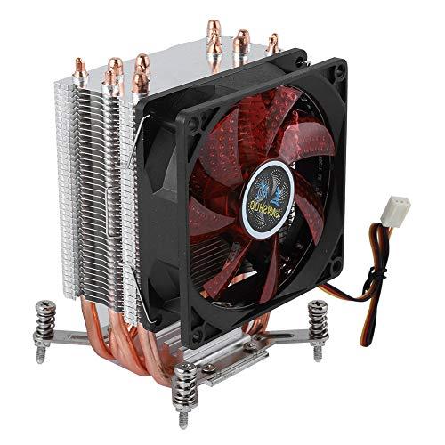 6 Heatpipe CPU Cooler, 2200RPM Disipación de Calor rápida PC Radiat Fan, 22dBA Presión hidráulica Super Silent CPU Heatsink(luz roja #4)
