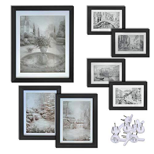 Jjek K- groot frame fotolijst set van 7 stuks, 3 verschillende grootte frames, creatieve DIY foto muur, glas voor, meerdere foto's, houten zwart frame