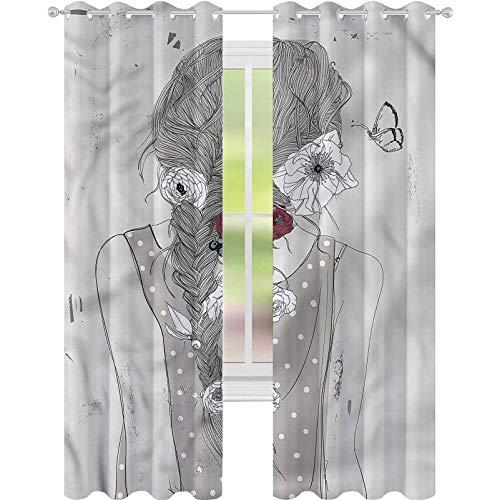 YUAZHOQI Cortina de ventana para niñas jóvenes bohemias Lady Floral cortinas opacas para dormitorio de niños de 132 x 160 cm (2 paneles)