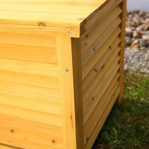 Melko Auflagenbox Kissenbox Gartenbox mit klappbarem Deckel, regenfest, aus Holz, 46 x 140 x 52 cm, Gartentruhe Holztruhe - 6