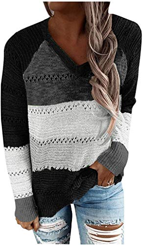 XIUSHANG Women's V-Neck Long Sleeves Casual Blouse Patchwork Zipper Sweater Tops Coloe Block Cardigans Sweaters