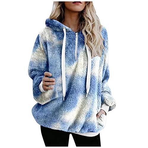 Padaleks Women's Sweatshirt Fall Winter Fleece Hooded Pullover Girls Tie Dye Print Hoodie Outwear with Pocket