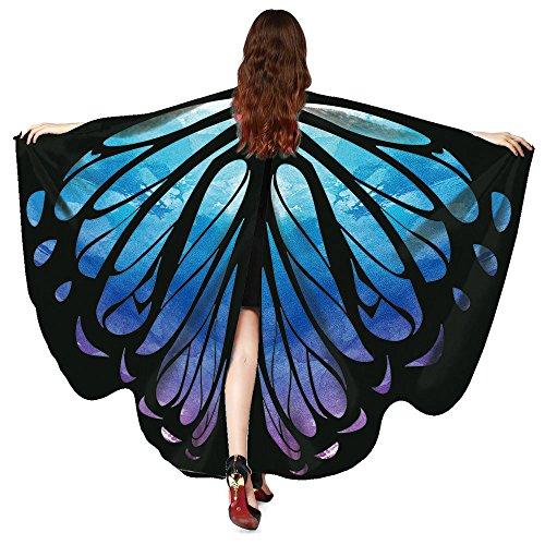 Andouy Damen Schmetterlingsflügel Schal Tuch Poncho Umhang Nymphe Pixie Flügel für Party Weihnachten Cosplay Karneval(168X135CM.Blau)