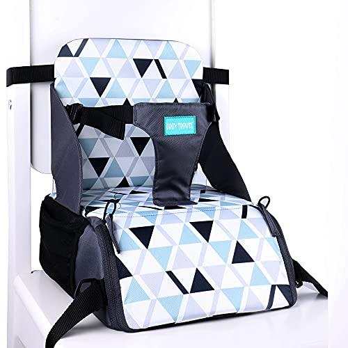 Baby-Sitzerhöhung mit Stauraum unter dem Sitz von 6 Monaten bis 3 Jahren, Kinder-Sitzerhöhung für Esszimmerstühle, Kindersitz für Tisch (buntes Dreieck)