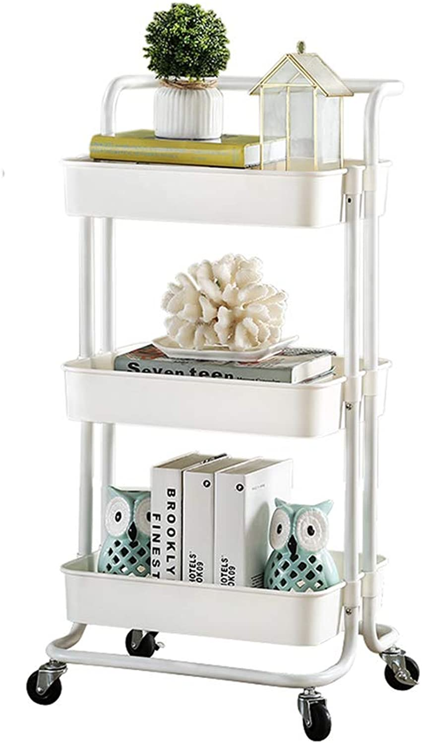 Chunlan Trolley 3-Layer Metal Rolling Multi-Function Trolley, Practical Handle, White, Black, 43  36  87cm (color   White)