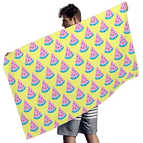 Rtisandu Toallas de playa rectangulares con frutas de sandía, fácil de limpiar, toalla de playa, albornoz para hombres y mujeres, color blanco, 150 x 75 cm
