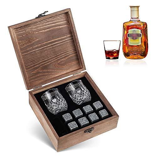 RanRotoy 8 Pièces Ensemble de Pierres de Whisky Pierres de Refroidissement 2 Verres boîte en Bois Roches de Refroidissement glaçons Réutilisables pour Whisky vin bière jus Boissons Accessoires de Bar