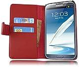Cadorabo Coque pour Samsung Galaxy Note 2 Rouge Cerise Housse de Protection Etui Portefeuille Cover pour Note 2 – Stand Horizontal et Fente pour Carte