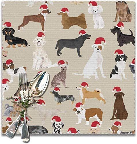 Placemats Kerstman poot Kerstmis hoed hond design voor honden beste honden placemats van katoen wasbaar hittebestendige placemats voor eettafel van linnen polyester voor keuken set 6 x 12 x 12 inch