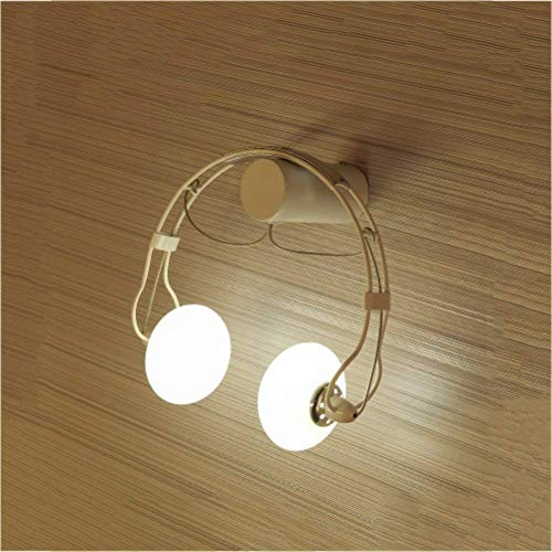 LAMP Schlafzimmer Nachtlicht, Kinderzimmer Wandleuchte Kreatives Glasbalkonlicht des Kopfhörers LED Geeignet für Wohnzimmer Schlafzimmer Flur Kinder,Weiß