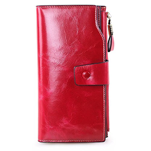 Women's RFID Blocking Large Capacity Genuine Leather Clutch Wallet Card Holder Organizer Ladies Purse With Zipper Pocket