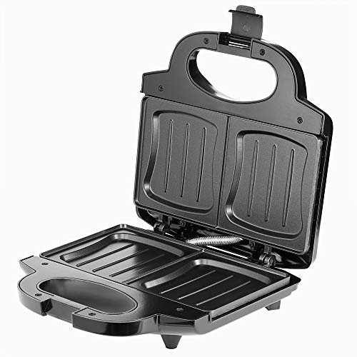 Monzana Sandwichera XXL negro 750V parrilla para toast libre de BPA revestimiento antiadherente cocina bocadillos