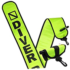 """Material: Nylon with TPU Size: 5"""" (W) x 4' (L) Plastic Clip included Fits in BCD pocket or clip Easy to use oral inflate """"Diver Below' print"""