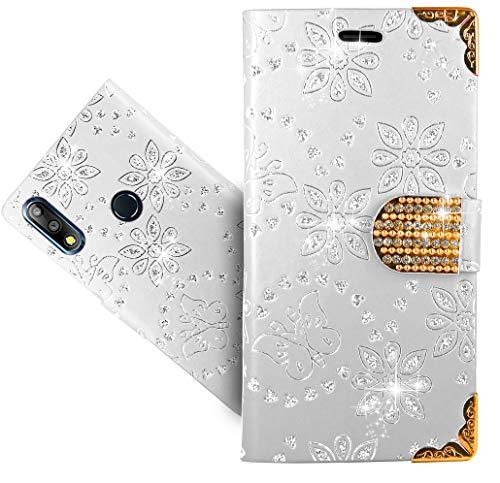 HülleExpert Asus Zenfone Max Pro (M2) ZB631KL Handy Tasche, Wallet Hülle Cover Bling Diamond Hüllen Etui Hülle Ledertasche Lederhülle Schutzhülle Für Asus Zenfone Max Pro (M2) ZB631KL