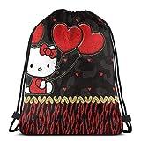 Bolsa clásica con cordón, diseño de Hello Kitty con corazón, mochila de gimnasio, bolsa de almacenamiento para hombre y mujer