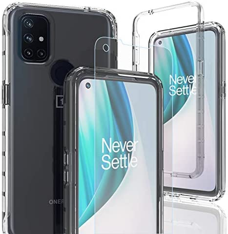 AMENQ Clear Design for OnePlus Nord N10 5G Case with Tempered Glass Screen Protector Heavy Duty product image