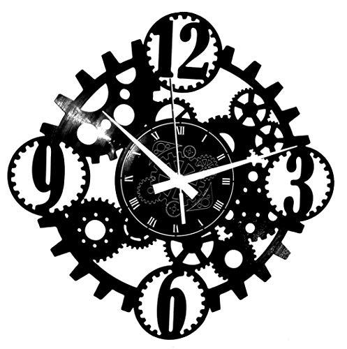 Instant Karma Clocks Reloj de Pared de Vinilo Retro gótico Steampunk Engranajes, Vintage, Hecho a Mano