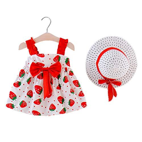 MAHUAOYIXI Vestido de verano para niña, estampado floral, vestido de princesa para bebé, estampado de fresa, gorro de verano rojo 6-12 Meses