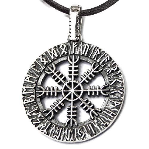 925 Sterling Silver Viking Helm of Awe Necklace - Aegishjalmur Pendant in Runic Circle - Ancient Norse Mythology Protection Amulet Talisman - Pagan Nordic Wiccan Jewelry Gift for Men Women - Handmade