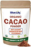 Blue Lily Organics Cacao Powder (2lb) - Cocoa Chocolate Substitute - Raw, Organic Cacao Powder from Superior Criollo - Vegan, Sugar Free, Gluten Free, Non GMO, Non Dutched