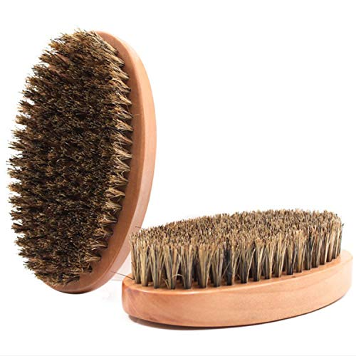 Cepillo manual para barba de cerdas de jabalí puro con asas de madera maciza para suavizar y acondicionar la barba picazón, gran regalo