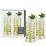 Viski Pacific Gold & Crystal Highball Tumblers Set of 2, Lead-Free Premium Crystal Clear Glass, Stylish Highball Cocktail Glasses, Cocktail Glass Gift Set, 10 oz