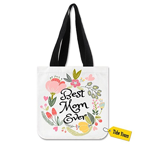 Heavy Duty Canvas Tote Bag - Best Mom Ever Grocery Reusable Carrying Bag Perfect for Shopping/Laptop/School Books