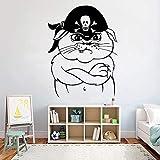HANZHAO Gato Pirata Pegatinas de Pared Pirata Pegatinas de Pared Vinilo Arte Interior murales extraíbles hogar decoración de la habitación de los niños Pegatinas de Puerta Pegatinas d 74X57CM