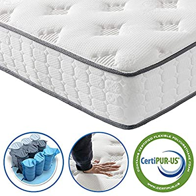 Vesgantti 9.8 Inch Pocket Sprung Mattress with Breathable Foam and Individually Wrapped Spring - Medium Plush Feel, Tight Top Collection