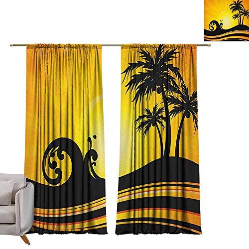 badkamer gordijnen gordijnen gordijnen Thermische geïsoleerde panelen thuis decor Strand, Seascape Sketch met Boot Palm Tree en vuurtoren kust Hand Drawn Artwork Zwart en Wit