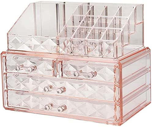 Clear Makeup Organizer with Lid Waterproof Dustproof Skin Care Cosmetic Display Cases Stackable Storage Box Make up Container Cube with 4 Drawers,by Acrylic