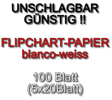 Flipchart - Papier Flipchartpapier 100 Blatt (5x20 Blatt) Blanco