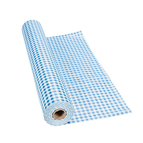 Fun Express Blue Gingham Plastic Disposable Tablecloth Roll - Tableware Party and Oktoberfest Supplies - 100 Feet Long