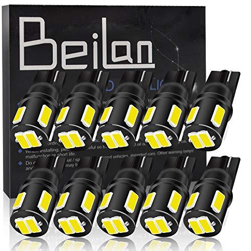 BeiLan 10pcs T10 LED 194 W5W Canbus No Error Cuneo Lampadine 6SMD 5630 168 2825 501 Luci di Posizione Piastra lampada auto Gioca Car