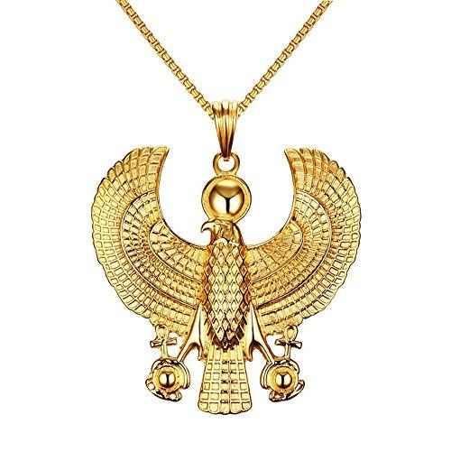 BOBIJOO JEWELRY - Anhänger Horus Falke Greifvogel ägyptische Gottheit, Kosmische Gold Ende + Kette