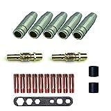 MIG/MAG-Schweißteilset Verschleißteile für MB 15AK | 20Teile | 5 x Gasdüse | 2 x Düse | 10 x Stromdüse M6 0,8 mm | 2 x Isolator | 1 x Instrument
