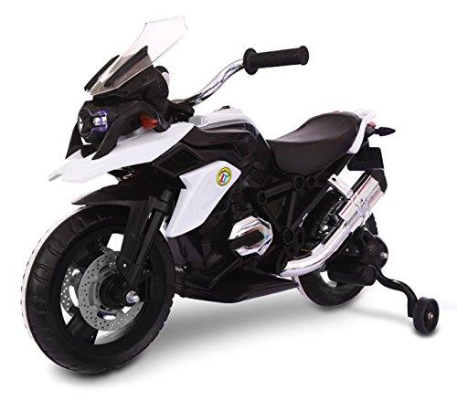 MEDIA WAVE store Moto da Corsa LT873 per Bambini Flower elettrica Bianca 12V con Seduta in Pelle
