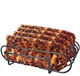 Dulcicasa Spare Rib Holder BBQ, Roast and Rib Holder Stainless Steel, BBQ Rack for Grilling Lamb chops, Steaks, Dishwasher-Safe